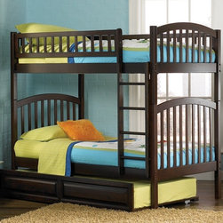 Atlantic Furniture - Richmond Twin Over Twin Bunk Bed w Trundle - NOTE: ivgStores DOES NOT offer assembly on loft beds or bunk beds. Includes upper and lower panels, long guard rails, clip-on ladder, 2 slats and raised panel trundle. Mattress not included. Solid hardwood Mortise & Tenon construction. 26-Steel reinforcement points. Designed for durability. Guard rails match panel design. Made of premium, eco-friendly hardwood with a 5-step finishing process. Meet or exceed all ASTM bunk bed standards, which require the upper bunk to support 400 lbs.. Pictured in Antique Walnut finish. 1-Year manufacturer's warranty. Clearance from floor without trundle or storage drawers: 11.25 in.. 78.88 in. L x 42.63 in. W x 69.25 in. H. Raised panel trundle: 74.75 in. L x 40.38 in. W x 11.63 in. H. Bunk Bed Warning. Please read before purchaseArch and slat design compliments the clean lines and the high build finishes is beautiful and durable.
