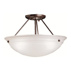 "BUILDER - BUILDER 3122TZ Cove Molding Top Glass Transitional Semi-Flush Mount Ceiling Ligh - Utilizing basic shapes and a simplistic design, the Family Spaces Pendant Collection provides fantastic lighting and classic style that goes with any décor. Our Tannery Bronze finish adds a beautiful aged look of the Family Spaces fixture while the Alabaster swirl glass generates a soft and pure ambiance in your home. This semi-flush pendant employs a 3-light design that uses 100-watt (max.) bulbs to light this 15"" diameter fixture."