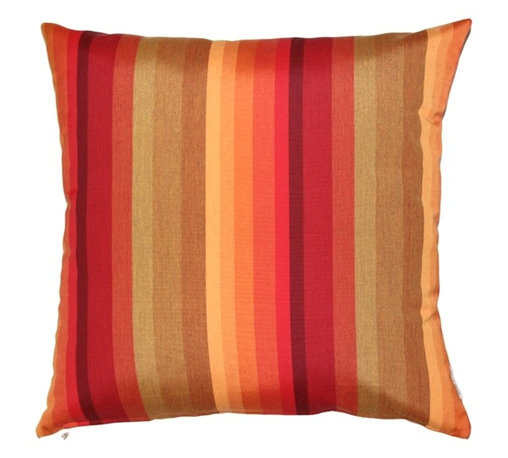 Pillow Decor - Pillow Decor - Sunbrella Astoria Sunset 20 x 20 Outdoor Pillow - The Sunbrella Astoria Sunset 20 x 20 Outdoor Pillow is ablaze with the colors of the setting sun. Warm red, orange and golden brown stripes melt together in perfect balance. The Sunbrella Tangerine Orange and Logo Red solid color pillows will complete the look with a contrasting solid and stripes theme.