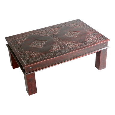 Sierra Living Concepts - Asian Ornate Hand Carved Mango Wood Sofa Coffee Table - Our Ornate Hand Carved Coffee Table is one part furniture and one part art. This solid wood handmade 45? long sofa table is built with mango wood, a tropical hard wood grown as a renewable crop.