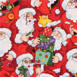 red Santa Claus present Christmas fabric Santa's Workshop - Xmas fabric by Fabri-Quilt from the USA with Santa Claus with presents