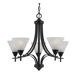 None - Transitional 5 light Chandelier in English Bronze - This transitional five light chandelier features an English bronze finish. White swirl alabaster glass adds a classic finishing touch.