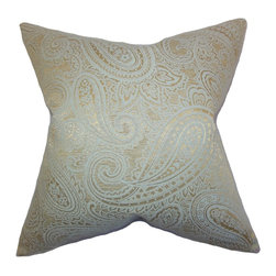 """The Pillow Collection - Cashel Paisley Pillow Seaglass Gold 18"""" x 18"""" - Give your home an improved look by adding this lovely throw pillow. This accent pillow features an attractive paisley pattern in gold hue printed against a sea glass blue background. This 18"""" pillow spruces up your living room, bedroom or lounge area. Constructed with a blend of 65% cotton and 35% polyester."""