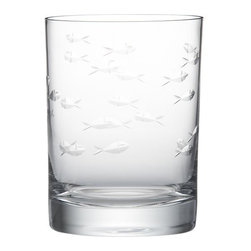 Reef Double Old-Fashioned Glass - This exclusive Crate and Barrel favorite is back by popular demand. Featuring a captivating aquatic design of handcut fish, each exquisite glass is handcrafted by a team of highly skilled artisans, passing through a total of 15 craftsmen and taking hours to create and perfect.