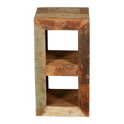 "Sierra Living Concepts - Open Back Reclaimed Wood 2 Cubical End Table - Take control of your space on your own terms with our Open Back 2-Cubical End Table. This rustic 26"" tall display case is a smart bedside table, mini book shelf or TV stand. It fits neatly into corners and tight spaces. The open back design gives you easy access to outlets and wires, and you can reach contents of the shelves from either end."