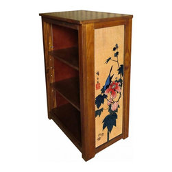 Kelseys Collection - Book cabinet 3 shelf Blackbird on Hibiscus - Book cabinet in solid pine features three adjustable storage shelves with two giclee prints on the side panels, showcasing Hiroshige artwork. The giclee print have three coats of UV inhibitor.  Dimensions are 33BY22BY12 Net weight 20 pounds. Three adjustable shelves. Estimated assembly time 20 minutes.