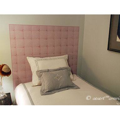 Casart Coverings - Removable and Reusable Faux Padded Headboard - It's hard to believe this tan, faux-padded headboard is wallpaper. It was used to create as an instant headboard that can be easily removed and reused like a slipcover.