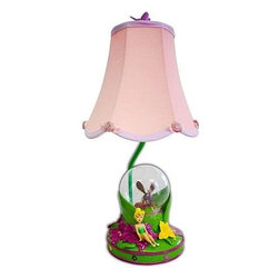 Disney - Disney Novelty Lamps: 18 in. Fairies Pink Table Lamp with Decorative Shade KK316 - Shop for Lighting & Fans at The Home Depot. Your little girl lamp will to illuminate her room with her favorite Disney Fairies Table Lamp. Featuring gorgeous Tinkerbell and Globe base with beautifully detailing will give a magical touch to any girls room. This lamp is decorated with fun glitter and fabric rose applique detailing to add a unique and charming appeal. Your little girl will love having her Tinkerbell Lamp to light up her room and is easy to turn on and off. Plugs in to the wall. Uses 40 Watt Bulb (not included) Colorful Tink, flower and globe base with a complementary contrast trim, scalloped edge shade. Dimensions: 8.5 in. L x 18 in. H x 8.5 in. W.