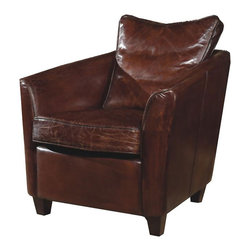 Moe's Home Collection - Charleston Brown Leather Club Chair - Traditional style. Loose back and seat cushion
