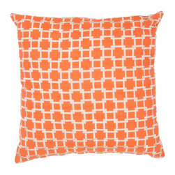 """Jaipur Rugs - Orange/Ivory color cotton frozen poly fill pillow 20""""x20"""" - Modena is a cotton based pillow embroidered with geometric designs.  Add to a  bed or side chair for a great accent."""