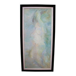 "Pre-owned Large Mid-Century Oil Painting I - One of a pair of large Mid-Century oil paintings. Image is of a woman painted in light blues and greens. Beautiful, subtle colors create a serene backdrop for any interior.    This piece measures 58"" H x 29.5"" W. Framed in an original mid century style black lacquered wood frame. Canvas is stretched on a wood stretcher with a wire hanger for easy hanging installation. Minor wear to frame such as light scratches and some minor black paint loss. Painting is in very good vintage condition with minor wear. This piece is not signed however it's accompanying matching artwork is signed.   Beige linen matte is 1.75"" W. Black frame is 2"" W."