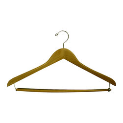Proman Products - Proman Products Gemini Concave Suit Hanger with Lock Bar in Natural Lacquer - Gemini-concave suit hanger With Lock bar, 44.5Lx1.2Tcm, natural lacquer, chrome, 50Pcs/Case