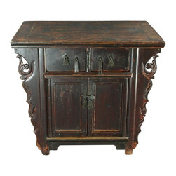 EuroLux Home - Consigned Antique Chinese Carved Cabinet Accent Table - Product Details