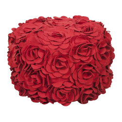 Surya - Surya Pouf - This floral pouf brings fun and fashion to any space. The color venetian red accents this round pouf.