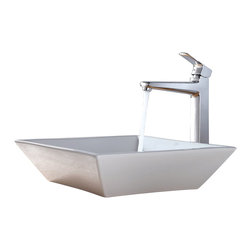 Kraus - Kraus C-KCV-125-15500BN White Square Ceramic Sink and Virtus Faucet - Add a touch of elegance to your bathroom with a ceramic sink combo from Kraus