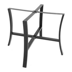 """Meadowcraft - Meadowcraft Maddux Wrought Iron Dining Table Base - The Maddux collection offers a classic design and a slightly more formal look detailed with elegantly designed plush double piped cushions providing exceptional comfort. As the years go by these clean lines with attention to detail will make your backyard patio or porch a favorite respite for spending time with family and friends. Maddux can complement several areas with dining deep seating or chat. The gas burning linear firepit adds ambiance to any gathering.Meadowcraft is a leading domestic manufacturer of quality wrought iron furniture and cushions located in Wadley Alabama.  With traditional and post war modern styles utilizing subtle understated designs Meadowcraft furniture is an excellent addition to any home. Whether choosing the deep seating comfort of a cushioned loveseat or the comfortable durability of a commercial grade mesh bistro chair you are invited to relax in all of Meadowcrafts products.  Meadowcraft takes the """"made in the U.S.A."""" label seriously and strives to exceed its perceived responsibilities to their customers and community.  Features include Made of extremely durable wrought iron material Hand formed by skilled craftsmen to insure the strongest furniture in the industry Offered in wide selection of powder coated finishes manufactured to prevent rust Square corner chape."""