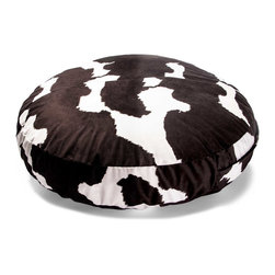 Jaxx Casual Living - 4-foot Bean Bag, Cow Pattern - The Jaxx Cocoon 4 FT Bean Bag makes a great addition to any room. Laid flat it's a crash pad with room to sit in comfort; When flipped it on its side, Jaxx Cocoon 4 FT tucks you into a nook of soft foam, perfect for reading. Then flip the bag back up so it sits like a regular bean bag and you have the perfect movie lounger. This round bag is made from cushiony foam and a lush microsuede cover that zips off for easy machine-washing, meaning it's a great place to watch cartoons and eat snacks.  About Jaxx:  Focused on both the atmosphere of your home as well as the state of the environment, Jaxx creates functional furniture while trying to maintain a minimal environmental footprint. Since 2006, Jaxx has been working non-stop to create their proprietary blend of up-cycled virgin scrap materials and byproducts now known as ECOFOAM. This alternative to conventional foams and fillers led to a technological innovation that allows for the compression of ECOFOAM to a third of its original size, making it easier and more efficient to ship and store. This has resulted in an even smaller carbon footprint. Today, the Company continues to test the limits of traditional processes to bring you stylish, smart, and functional furniture while taking responsibility for the impact on the environment. Jaxx encourages you to follow their lead, be present in your space, and live life to the fullest. Round bean bag chair for children. Microsuede cover and furniture-grade polyurethane foam. Removable zippered cover for machine-washing. Dimensions: 48L x 48W x 12H in.
