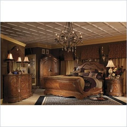 AICO Furniture - Cortina Wood Sleigh Bed 3 Piece Bedroom Set in Honey Walnut - N