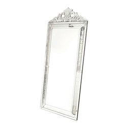 Extra Large Vertical Venetian Mirror - The delicate Extra Large Vertical Venetian Mirror makes a perfect piece to be displayed above the fire mantle. It comes from our special European Country Collection. It is vertically-shaped and features a well-cut florid and borderline that adorns the top of the mirror.