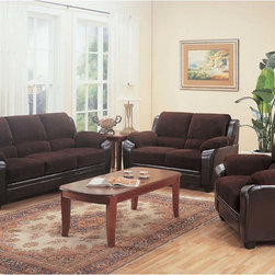 Coaster Casual Chocolate Corduroy Sofa Couch Loveseat Chair Living Set - Modernize outdated decor with the simple, stylish elegance of the Monika sofa collection. With a versatile neutral color like chocolate, this plush piece enhances any home with casual charm. High-density foam cushions offer unbelievably cozy lounging.