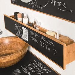 WS Bath Collections - Luni Bamboo Shelf - Luni by WS Bath Collections, Bamboo Bathroom Vanity Unit with Blackboard Magnetic Surface, Shelf Unit with Containers, Wall-Mounted Installation, Made in Italy