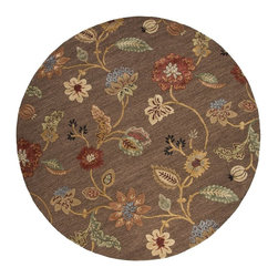 Jaipur Rugs - Jaipur Rugs Hand-Tufted Floral Wool/Silk Brown/Yellow Round Area Rug, 8' Round - Inspired by bold ethnic textiles and the rich hues of Indian spices, the Blue Collection encourages individual expression with a modern flare. Embellishing this mix of playful colors, some designs incorporate a raised carving effect and art silk accents. The Blue Collection combines fluid lines with highly textured hand-tufting for a look that's eye-catching, functional and quintessentially Jaipur.
