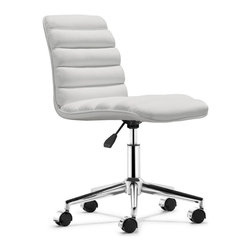 Zuo Modern - Zuo Admire Office Chair in White - Office Chair in White belongs to Admire Collection by Zuo Modern The Admire office chair has a sleek and comfy shape wrapped in a soft padded leatherette with an adjustable life and rolling base. Office Chair (1)