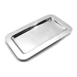 "Frieling - Tray, Mirrored - This tray is the perfect match to Frieling's high polished 18/10 stainless steel line. Tray size: 9 3/8"" x 5 5/8"" (outside) 7"" x 3 ""  (inside)."