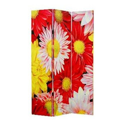 DAISY AND ROSE SCREEN - Everything's coming up roses (and daisies). Blooming with beauty, this screen offers a great way to provide a little privacy or divvy up a shared space. It would also be a pretty accent piece in your master bath or even a salon.