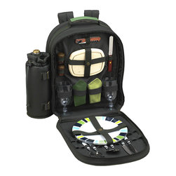 Picnic at Ascot - Forest Green Two-Person Eco Picnic Backpack Cooler - Soak up the sun with this fully stocked picnicking set made entirely of environmentally friendly, PVC-free materials. The lightweight backpack is packed with flatware, plates and napkins for two, plus fine-dining essentials such as a corkscrew, cutting board and salt and pepper shakers with non-spill tops. Ergonomic straps, an insulated cooler compartment and a detachable wine holder ensure easy picnicking.   Includes backpack, combination corkscrew, wooden cutting board and salt and pepper shakers, two acrylic wine glasses, two melamine plates, two sets of stainless steel flatware and two cotton napkins 15.5'' W x 16'' H x 6.5'' D Backpack: 600-denier polycanvas Dishes, flatware and glasses: dishwasher safe Napkins: machine wash Imported