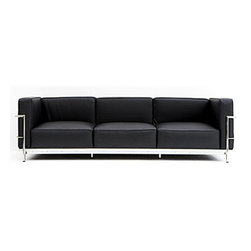 "IFN Modern - Le Corbusier LC3 Style Grand Sofa - Overall Dimensions: 26.4"" H x 82\"" W x 27.6\"" DTop grain leather on all parts 