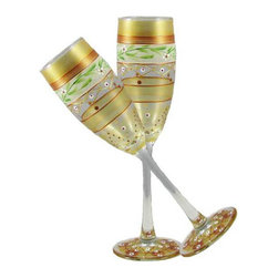 Mosaic Gold Garland Champagne Glasses  Set of 2 - This lovely hand painted champagne flute is from our Mosaic collection and inspired by the colorful tiles of the Alhambra.  Something to be handed down from generation to generation.  Proudly hand painted in the USA.