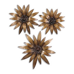 Uttermost - Golden Gazanias Metal Wall Art, Set of 3 - This decorative wall art is made of hand forged and hand hammered metal.