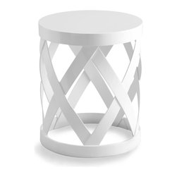 Warwick Table - Put aside any thoughts of boring side tables with the Warwick Table. A brilliant white finish and a symmetrical cross pattern that makes up the sides of the table lend the piece an airy, open, and playful feel. A delightful accent to your transitional appointments, the table is perfectly sized for holding a cup of tea in a great room, a vase of your favorite blooms in a sunroom, or a collection of fine linens in the bath.