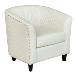 Great Deal Furniture - Marion Leather Barrel Armchair, White/Ivory - This elegant club chair combines retro design with a modern touch. With its contemporary curves, quilting, and chrome studs, the integrated back and armrests contour the body, offering both support and comfort. Short, sturdy, dark wooden legs support the chair, but are barely noticeable. You will enjoy this chair no matter what room you place it in.
