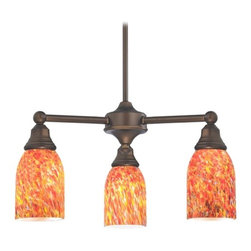 Design Classics Lighting - Mini-Chandelier with Art Glass in Neuvelle Bronze Finish - 598-220 GL1012D - Transitional neuvelle bronze 3-light chandelier. Takes (3) 100-watt incandescent A19 bulb(s). Bulb(s) sold separately. UL listed. Dry location rated.