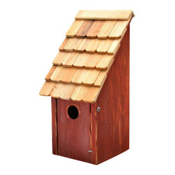Heartwood - Bluebird Bunkhouse Bird House Redwood - This  exquisite  bird  house  is  the  perfect  addition  to  any  home  or  garden  of  your  choice.  Round  up  a  pleasing  posse  of  America's  favorite  songbirds  with  this  classic  Bluebird  Bunkhouse,  beautifully  simple  in  design  and  ruggedly  built  with  front  opening  for  easy  cleaning.  Truly  American  (they  range  only  on  the  American  continent),  bluebirds  suffered  a  decline  in  the  last  century  after  the  introduction  of  European  starlings  and  house  sparrows,  larger  competitors  that  steal  bluebird  nest  holes.  Thanks  to  bluebird  trails  and  other  efforts,  bluebirds  have  made  a  comeback;  if  you'd  like  to  be  sure  to  prevent  any  rustling  on  your  range,  simply  place  two  Bunkhouses  back  to  back  or  near  each  other.  What  you'll  hear  from  your  musical  herds  will  be  harmonious  beyond  compare.                    8x8x16              1-1/2  hole              Available  in  blue,  green  apple,  natural,  redwood  and  white              Handcrafted  in  USA  from  renewable,  FSC  certified  wood
