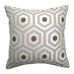 Squarefeathers - Zen, Hex Pillow - A peaceful pillow collection that will cause your mind to go in a state of relaxation! Made of polyester and viscose with a silk rayon velvet back and rope trim. It has a soft and pump feataher/down insert inclosed with a zipper. Like all of our products, this pillow is handmade, made to order exclusively in our studio right here in the USA.