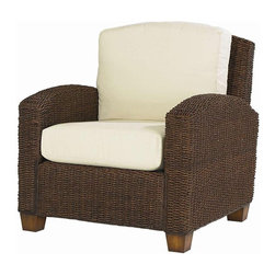 HomeStyles - Arm Chair in Cocoa Finish - * Ecru upholstered cushions to easily coordinate with many decorating schemes. Made from mahogany hardwood and natural woven banana leaves. Made in Indonesia. 36 in. W x 29.75 in. D x 31.75 in. H. Assembly instructionsOur Cabana Banana Chair provides casual comfort with an 'island' inspired style. Cleaning instructions for fabric - Use any commercial upholstery cleaner.