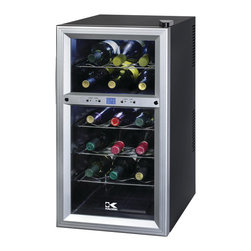 Kalorik - Dual-zone Wine Cooler - With the whites chilling on top and the reds hanging out in their own custom temperature, you know your fine wines will be preserved for just the right occasion. The dual-zone refrigerator means you can store up to six bottles of white wine and 12 bottles of red. Not a bad way to start a collection.