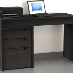 """Nexera - Sereni-T 3 Drawer Computer Desk - We all have different needs and preferences so why not have a collection that caters to what you want? Express your creativity with the brand new Sereni-T collection from Nexera. Entertainment center, home office, storage and decoration - this collection does it all! With its unique modular conception that lets you mix and match the different items you're sure to find your own perfect configuration. The contemporary Sereni-T collection is offered in rich black and satin texture anthracite melamine with adjustable legs, metal handles and metal glides. Features: -Includes file cabinet and desk panel. -Sereni-T collection. -Engineered wood / melamine construction. -Contemporary style. -File cabinet has legal size file can be fit in drawer, two utility drawers and three drawers with metal glides. -File cabinet has two utility drawers and metal drawer pulls. -Desk panel can be attached to either side of three drawer file cabinet. -Desk panel has 1"""" thick work surface. -Assembly required. -Manufacturer provides 5 year warranty against material defects or workmanship."""