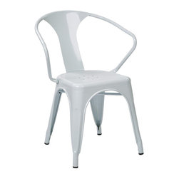 Office Star - Office Star Patterson Metal Chair in White - Set of 2 - Office Star - Dining Chairs - PTR2830A211 - Simple, elegant chair featuring powder coated steel frame and stylish back design. Always ready to serve you with style, these chairs are designed to provide comfort while adding elegance to your life. Elegant design with a modern touch. Fully assembled for your convenience, these gorgeous Patterson Metal Chairs will serve for many years to come.