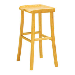 Ledge Stool - With its durable bamboo construction and its sturdy arched legs, this is a barstool you can depend on for a long time. The honeyed finish is a great foil to bright, creative colors.