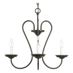 Progress Lighting - Progress Lighting P4665 Heart Three-Light Single-Tier Candelabra Chandelier - Heart shaped support arms gracefully cup the lights of this 3 light chandelier.Features: