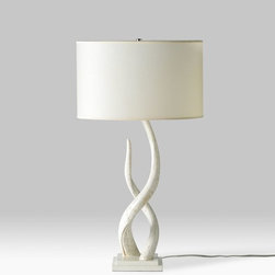 Source Kudu Table Lamp - I love the sculptural shape of this lamp. In a subtle way, it also mimics antlers. It will look great on a tall dresser as part of a vignette.