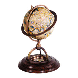 Authentic Models - Authentic Models GL019 Terrestrial Globe With Compass - Classic globes without a matching compass were considered incomplete. Our wonderfully constructed bronze and wood stand with paper globe includes true reproduction of 17th C. �dry� compass. Twelve paper gores applied to the globe are printed after originals drawn by Gerardus Mercator, the inventor of the Mercator projection, which was used from the 16th C. until the middle of the 20th C. Scientific, decorative, historical.