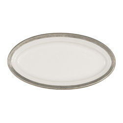 Arte Italica - Tuscan Medium Oval Platter - When it comes to serving large crowds, you need to bring out the heavyweights. This substantial platter is made by hand of Italian ceramic and pewter. Its generous size accommodates everything from a Thanksgiving turkey to a Sunday roast. Given its handcrafted nature, each piece is unique and subtle variations in color and size are to be expected and celebrated.