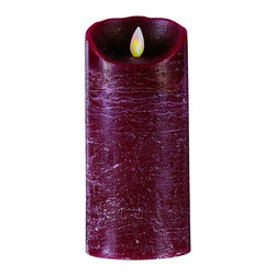 None - MYSTIQUE FLAMELESS CANDLE BURGUNDY DISTRESSED - Save money and safely decorate around small children and pets with this fascinating flameless candle. Complete with a flickering flame and realistic melted edge,this creative candle ends the days of smoke scorches and embedded candle wax on tables.