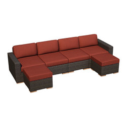 Harmonia Living - Arden 6 Piece Wicker Patio Sectional Set, Henna Cushions - Entertain your guests in modern style and comfort with the 6 Piece Arden Sectional Set with Red Sunbrella® Cushions (SKU HL-ARD-6SEC-CH-HN). This set makes a practical choice for those who love showing theirs guests a good time with its comfortable, stylish design. The frames are made from thick-gauged aluminum and is wrapped with beautifully rich Chestnut finished wicker made from High-Density Polyethylene (HDPE). Each seat has plush, comfortable seat and back cushions that are covered in Sunbrella fabric, which is designed to be fast-drying and fade resistant, even in regular sun exposure. Teak wood feet sets this collection apart from others with a natural appeal that also elevates each piece for easy rearrangement.