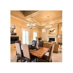 Furnishings in Parade of Homes - Refined Rustic Barnwood Dining Table, burlap and leather dining chairs